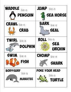 Sea Life Action Cards - Guest Post from lil Mop Top Mess For Less Gross Motor Activities, Preschool Activities, Movement Preschool, Physical Activities For Kids, Animal Activities For Kids, Dementia Activities, Animal Games, Animal Action, Action Cards