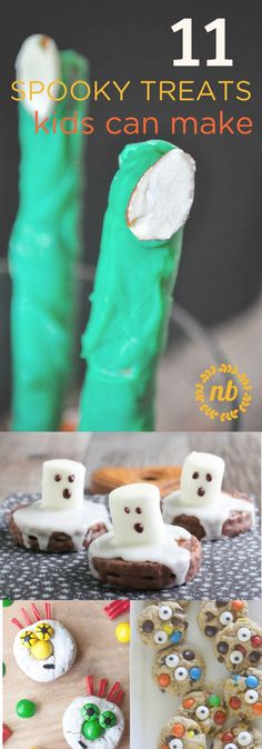11 Halloween Treats kids can make. Great for parties, fun, and rainy afternoons!