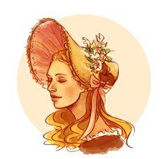 A beautiful drawing of Cosette wearing her bonnet.