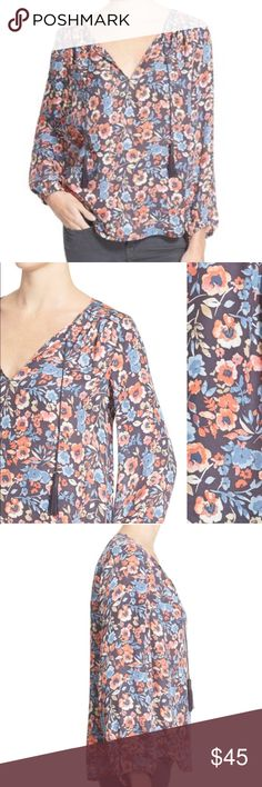 JOIE~Odette Floral Silk Tie-front Tasseled Tunic~M amazing condition, no issues as seen on TV 📺 many times and shows in different color ways..example of Young and the Restless actress Jessica Collins in photos. Joie Tops Blouses