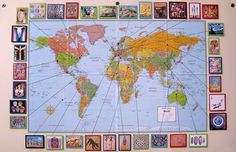 bulletin board - put a map up and then add pictures/information about places you've studied throughout the year.