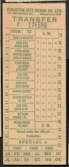 Transfer from Kingston (Ontario, Canada) City Coach Co., Ltd. (1957)