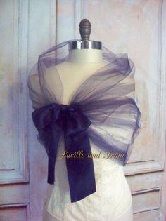 Navy Blue Tulle Shawl Tulle Shrug Tulle Bolero Champagne Evening Wrap Portrait Stole Wedding Shawl Bridesmaids Stole