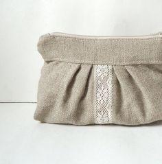 Burlap Pleated Vintage Lace Zipper Clutch  by JuneberryStitches, $26.00