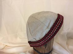 Viking, Norse, Anglo Saxon, handwoven linen, with brown, beige, red inkle loom weaving trim