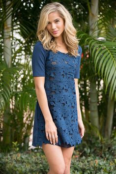 Lace Stitching Short-Sleeved Navy Dress