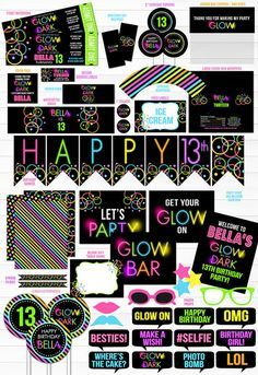 Printable Glow in the Dark Birthday Party Package | Teen Girl DIY Party Decor | Black Light | Neon | 80's Party | Roller Skating Party | Teenager | Banner | Food Labels | Signs | Photo Props | Cupcake Toppers | Favor Tag | Water Bottle Labels and more!