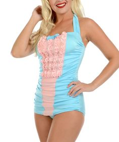 e8036d57bc Look what I found on  zulily! Aqua  amp  Pink Eleanor Maillot Swimsuit -