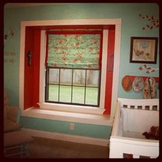 Window wall. Inspired by Joel Dewberry fabric Sparrows in aqua. Aqua and orange bird nursery.