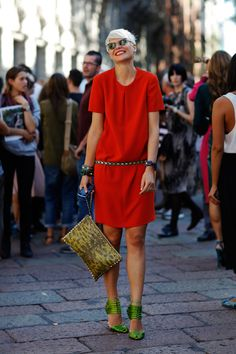 Elisa Nalin outside of Gucci in her perfectly-colorful signature style and absolutely gorgeous smile.