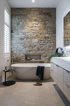 Deauville Street Beaumaris Real Estate For Sale 4 bedrooms 5 bathrooms Award-Winning Design and Eco Excellence Bathroom Feature Wall, Brick Bathroom, Bathroom Accent Wall, Bathroom Accents, Bathroom Interior, Cabin Bathrooms, Outdoor Bathrooms, Rustic Bathrooms, Dream Bathrooms