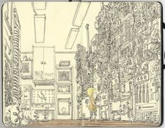 Intricate sketchbook drawings of Mattias Adolfsson