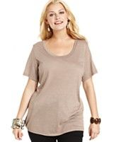 American Rag Plus Size Short-Sleeve Slub-Knit Scoop-Neck Tee