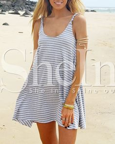 Grey Spaghetti Strap Striped Dress 16.99