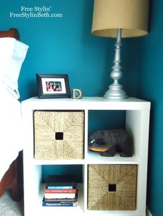I want these for nightstands in our bedroom - I could use the wicker bins to hide the ugly internet router and put a power strip in there for charging my laptop, cell phone, etc. Finally get all that stuff off the nightstand I currently have that has no drawers/storage.