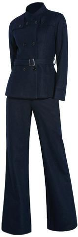 Belted Double-Breasted Wool Jacket & Pant Set