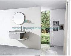 D-8403  Stripe Wood color wall mounted stainless steel bathroom cabinet