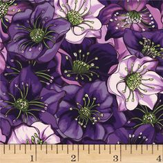 Lenten Rose Light Indigo from @fabricdotcom  Designed by Cedar West for Clothworks, this cotton print fabric is perfect for apparel, quilting, and home decor accents. Colors include shades of pink, purple, green, black, and white.