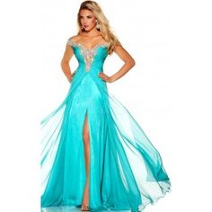 Velvet Chiffon Off The Shoulder A-line Split Front With Shining Beadings Prom Dresses