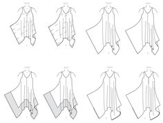 McCall's Sewing Pattern Misses' Handkerchief-Hem, Tent Dresses and Jumpsuit Easy Sewing Patterns, Mccalls Sewing Patterns, Vogue Patterns, Handkerchief Hem Dress, Sewing Blouses, Tent Dress, Jumpsuit Dress, Wide Leg, Sleeveless Dresses