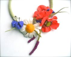 Romantic handmade flowers necklace Summer meadow - felt necklace- floral accessories - handmade- wool necklace by jurooma on Etsy
