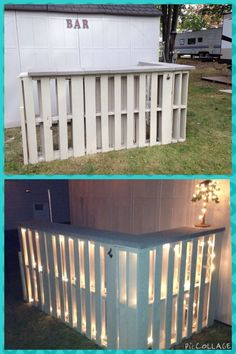 Pallet bar - 6 pallets, patio pavers, 2 tubes liquid nails (use w/ a gun), wood screws & one piece of wood. - strung lights & attached a bottle opener! Pallet Crafts, Pallet Projects, Home Projects, Pallet Ideas, Bar Pallet, Outdoor Pallet Bar, Pallett Bar, Pallet Furniture Outdoor Table, Outdoor Bars