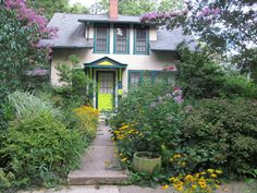 Takoma Park garden of horticulturist Margaret Atwell.  Love the grounds, but not that front door!