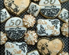 Items similar to Heart Wedding Anniversary  Decorated Cookies on Etsy
