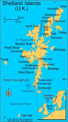 Shetland Islands map  ideally part of a Scotland trip