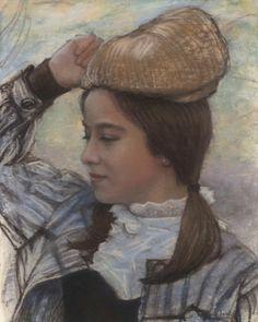 Original Pastel. Portrait of a girl, by Jean-François Le Saint (131112-2)