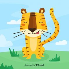Tiger background Free Vector | Free Vector #Freepik #freevector #background #nature #green-background #animal Tiger Illustration, Cat Drawing, Drawing For Kids, Cute Tigers, Illustrations And Posters, Animal Illustrations, Drawing Projects, Art Lessons Elementary, Cute Backgrounds