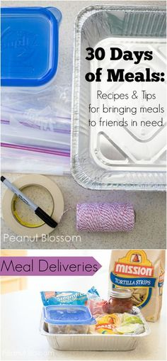 30 days of mommy meals: recipes to bring to a friend in need. Great freezer friendly dinner ideas and recipes that travel well. Think beyond the casserole, these unique dinner ideas are just what your friend wants to eat! Freezer Cooking, Freezer Meals, Cooking Recipes, Freezer Recipes, Cooking Tips, Freezable Meals, Budget Recipes, Crockpot Meals, Budget Meals