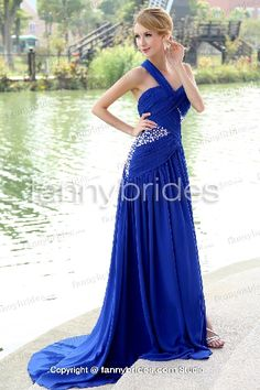 Royal Blue Chiffon Beading Bridesmaid Dress Embellished Back
