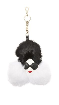 Alice And Olivia Stace Face Fur Keychain Charm In Cream/black Kitsch, Handbag Accessories, Fashion Accessories, Fendi, Fur Keychain, Alice Olivia, Purses And Handbags, Girly Things, Betsey Johnson