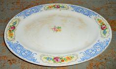Vintage Platter, Homer Laughlin, Floral, Blue, Cottage Chic, Large,  Oval Platter, Shabby, 1940's, B 40 N 6 by TheBackShak on Etsy
