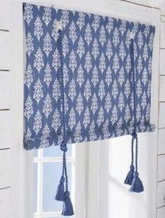 Blocktryck roman blind blue from Boel & Jan by Boel & Jan Soft Furnishings, Curtain Tie Backs Diy, Home Textile, Diy Curtains, Diy Window Shades, Window Coverings, Home Diy, Blinds, Diy Window