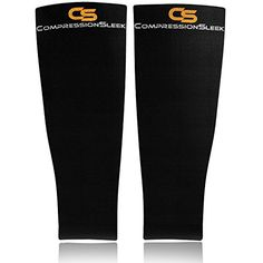awesome Calf Compression Sleeve Running Socks Cycling Sleeves By Compression Sleek - Leg Sleeves Color Black For Men & Womens Size: Calf 12 to 15 inches - For Running Training Crossfit Cycling - Fast Recovery - Improve Circulation - No More Shin Splints - 100 Percent Money Back Guarantee