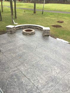 Stamped concrete patio with integrated seating wall, pillars and matching fire pit by Sierra Concrete Arts. Pergola Patio, Diy Patio, Backyard Patio, Patio Ideas, Backyard Ideas, Pergola Curtains, Pergola Kits, Pergola Ideas, Backyard Decorations