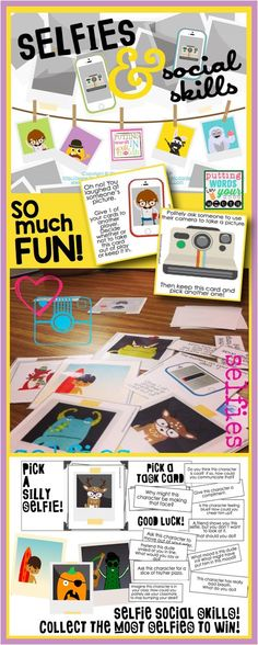 Weird and wacky selfies plus social scenarios and questions = a whole lots of social skills practice and fun! Includes a handy visual for social skills as well~