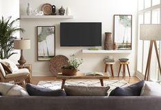 Narrow Living Room, Living Room Tv, Home And Living, Living Room Decor Around Tv, Living Room Ideas Tv Wall, Tv Stand Ideas For Small Living Room, Tv Room Small, Dining Room, Living Room Shelves