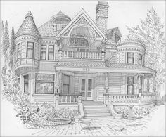 victorian homes Coloring Pages for Adults how to draw victorian