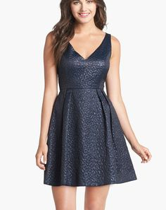 French Connection 'Katari'~ Blue Jacquard Fit Flare Cocktail Dress 4 NEW $228 #FrenchConnection #ALine #Cocktail