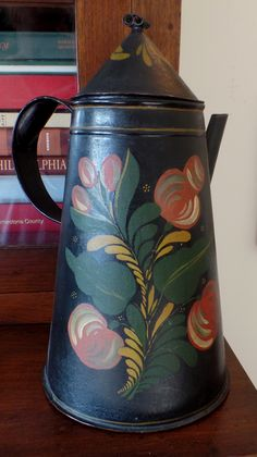 Toleware side spout coffee pot, most likely Pennsylvania. Circa 1840. Ex Philip Bradley, Sr.