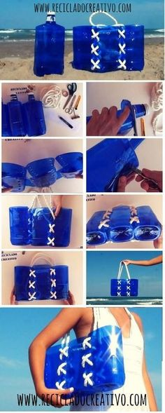 Bag Made With Recycled Plastic Bottles is part of Upcycled Crafts Reuse Plastic Bags - This bag is made out of three upcycled plastic bottles and a rope Reuse Plastic Bottles, Plastic Bottle Crafts, Recycled Bottles, Plastic Bags, Upcycled Crafts, Diy Crafts, Recycled Art, Recycled Glass, Diys