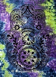 Amazon.com - Fatima Hamsa Hand Indian Tapestry Throw, Tie Dye Tapestry, Hippie Hippy Wall Hanging, Mandala Tapestry, Indian Throw, Decorative Cotton Bedspread, Home Decor Table Cloth, Bohemian Tapestries Decor Art 54x86'' -