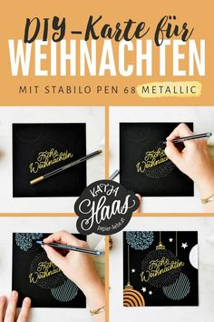 DIY: Christmas card with Stabilo Pen 68 metallic pens - The new premium metallic felt-tip pens are ideal for creative design on light and dark paper as wel - Diy Christmas Cards, Xmas Cards, Christmas Fun, Christmas Chocolate, Stabilo Pen 68, Diy Crafts To Do, Fun Diy, Paper Crafts, Karten Diy
