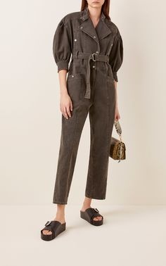 Idum Belted Denim Jumpsuit by Sea Denim Jumpsuit, Black Jumpsuit, Ladies Jumpsuit, Black Combat Boots, Leather Ankle Boots, Boiler Suit, Ulla Johnson, Jumpsuits For Women, Black Denim