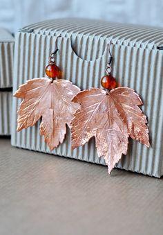 Earrings from maple leaves electroformed leaves от ChechelArt