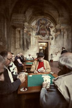 Old men playing cards at The Men's Club in Sorrento, Italy © John Bragg Photography