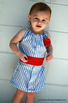 Girl's Dress Upcycled from a Man's Dress Shirt - step by step Photo tutorial - Bildanleitung